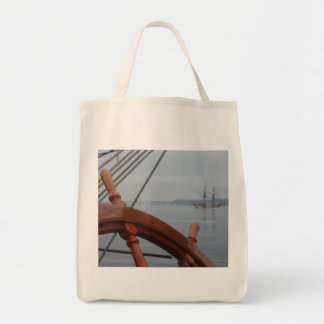 Tall Ships Passing Grocery Tote Bag