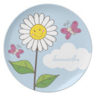 Tall Smiling Daisy & Butterflies with Name Plate