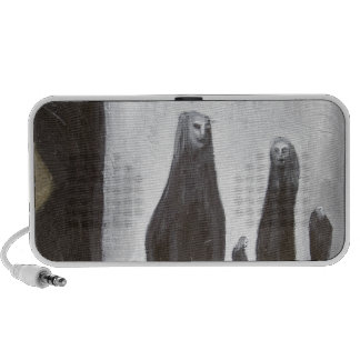 Tall Soldiers (black and white surrealism) iPod Speakers