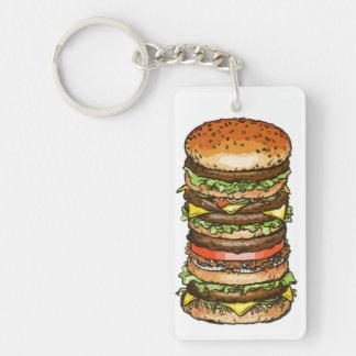 Tall Super Burger Keychain Rectangular Acrylic Key Chains