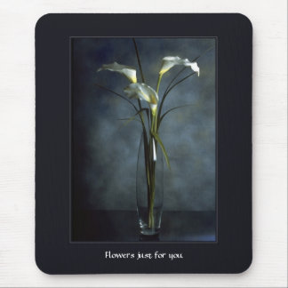 Tall White Calla Lilies in Glass Vase Mouse Pad