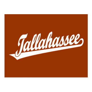 Tallahassee script logo in white postcard