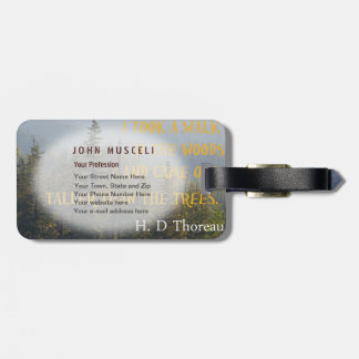Taller than the Trees, Henry David Thoreau suite Tag For Luggage