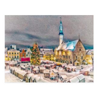 Tallinn Estonia Christmas Market Postcard