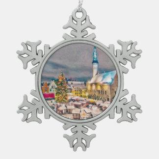 Tallinn Estonia Christmas Market Snowflake Pewter Christmas Ornament