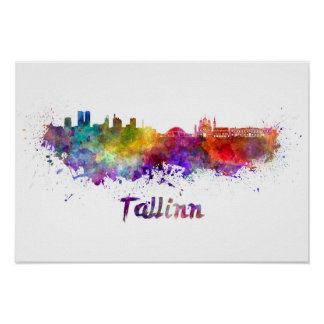 Tallinn skyline in watercolor poster