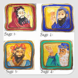 Talmud Study Aid: Four Sages Square Sticker