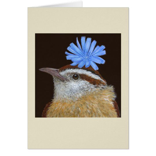 """Talulah"" the Carolina wren card"