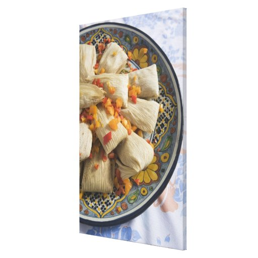 Tamales on decorative plate stretched canvas prints