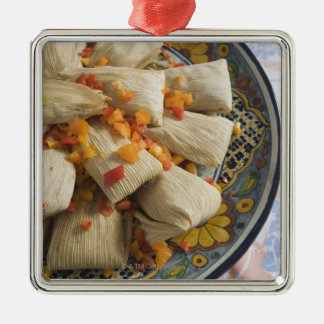 Tamales on decorative plate christmas ornament