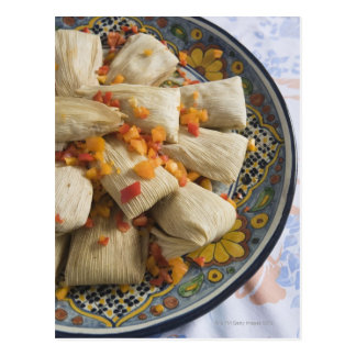 Tamales on decorative plate post card