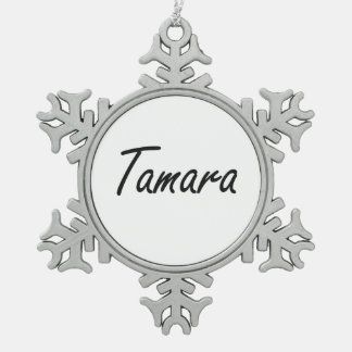 Tamara artistic Name Design Pewter Snowflake Decoration