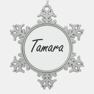tamara artistic name design snowflake pewter christmas ornament