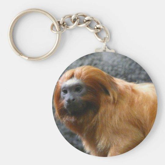 tamarin monkey basic round button key ring
