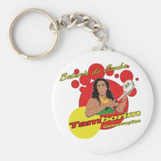 Tamborim Batucada de Samba Basic Round Button Key Ring