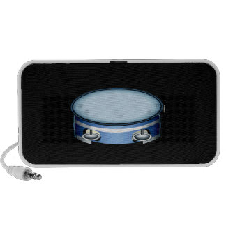 Tambourine Graphic Side View Blue Musicial Design Travel Speakers