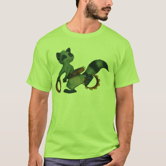 """Tambourine Hula Racoon"" by Suzi German T-Shirt"