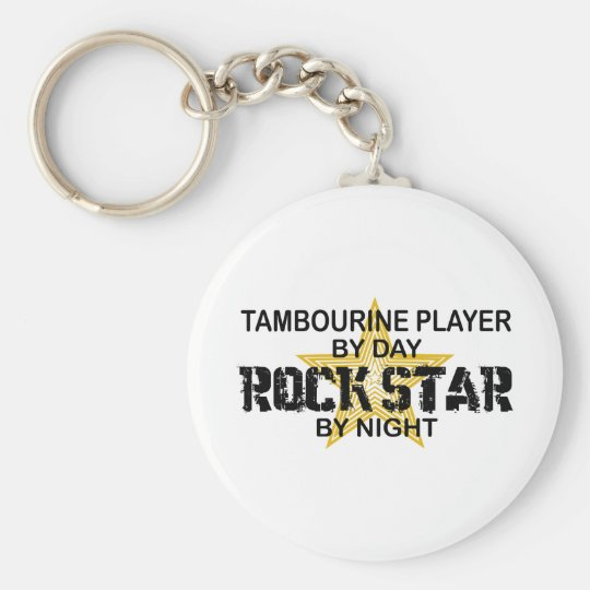 Tambourine Rock Star by Night Basic Round Button Key Ring