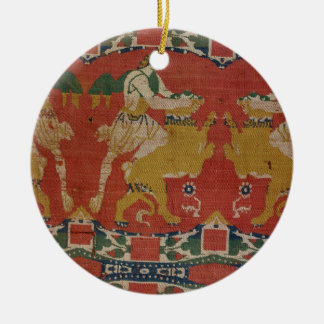 Taming of the Wild Animal, Byzantine tapestry frag Round Ceramic Decoration