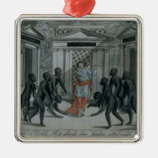 Tamino plays the magic flute Silver-Colored square decoration