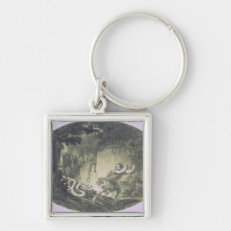 Tamino pursued by a giant serpent Silver-Colored square key ring