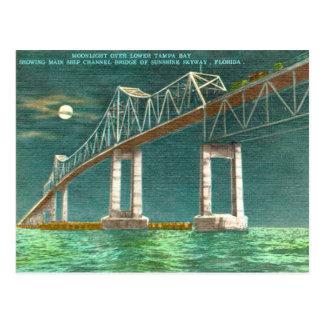 Tampa Bay Vintage Old Sunshine Skyway Postcard