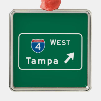 Tampa, FL Road Sign Christmas Ornament