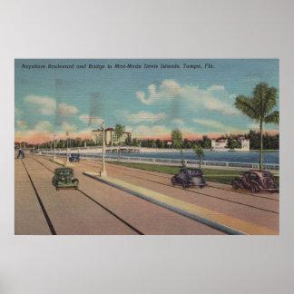 Tampa, FL - View of Bayshore Blvd, Bridge Poster