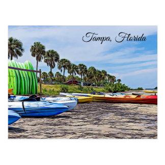 Tampa Florida Beach Scene with Kayaks Postcard