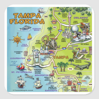 Tampa Florida Cartoon Map Square Sticker