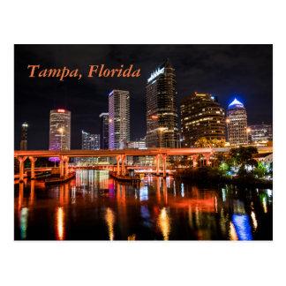 Tampa, Florida, City Lights Skyline by Night Postcard