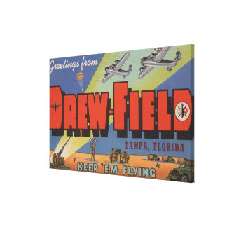 Tampa, Florida - Drew Field - Large Letter Scene Canvas Print