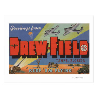 Tampa, Florida - Drew Field - Large Letter Scene Postcard