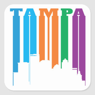 Tampa Florida in Bold Letters and Colors Square Sticker