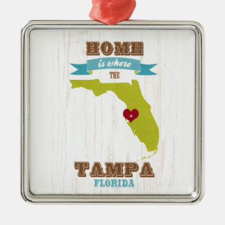 Tampa, Florida Map – Home Is Where The Heart Is Christmas Ornament