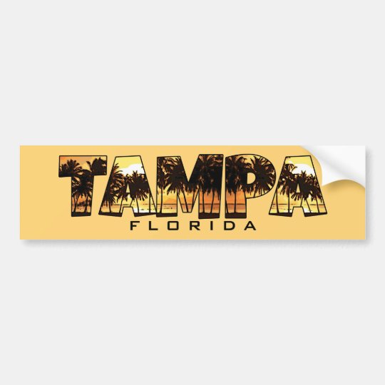 Tampa Florida palm trees bumper sticker