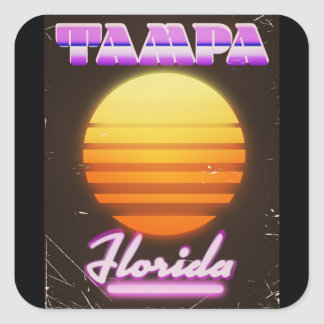 Tampa Florida vintage 80s travel poster Square Sticker
