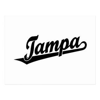 Tampa script logo in black postcard