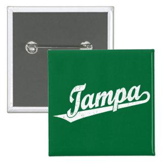 Tampa script logo in white distressed 15 cm square badge