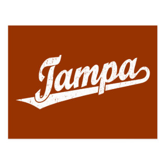 Tampa script logo in white distressed postcard
