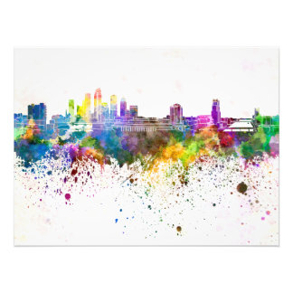 Tampa skyline in watercolor background photo