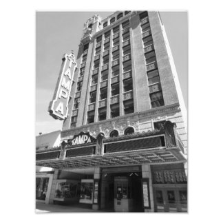 Tampa Theatre Historic Theater Photo Print 1 B&W
