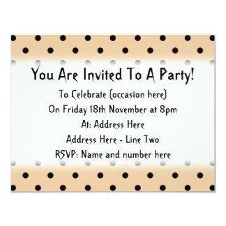 Tan and Black Polka Dot Pattern. 11 Cm X 14 Cm Invitation Card