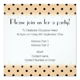 Tan and Black Polka Dot Pattern. 13 Cm X 13 Cm Square Invitation Card