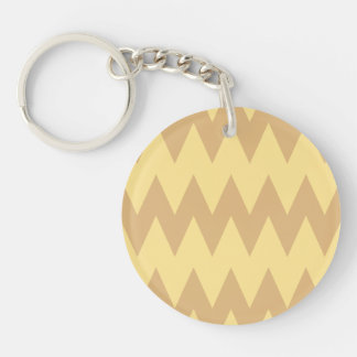 Tan and Light Brown Zigzags. Key Ring