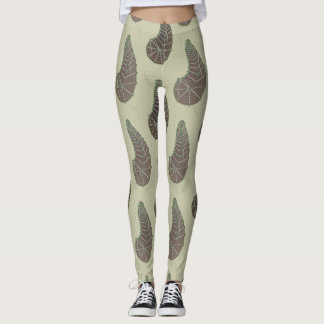 Tan and Olive Green Crazy Paisley Leggings