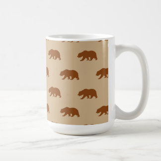 Tan and Saddle Brown Grizzly Bear Pattern Coffee Mug