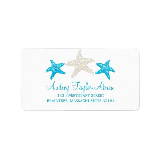 Tan and Teal Starfish | Return Address Address Label