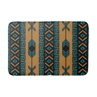 Tan And Turquoise Southwest Aztec Pattern Bath Mats
