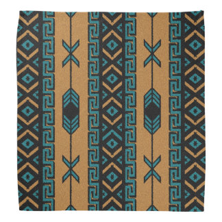 Tan And Turquoise Tribal Aztec Pattern Bandanna
